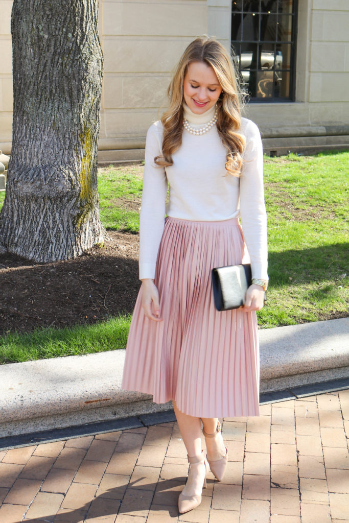 The Lilac Press Dusty Rose Pleated Skirt