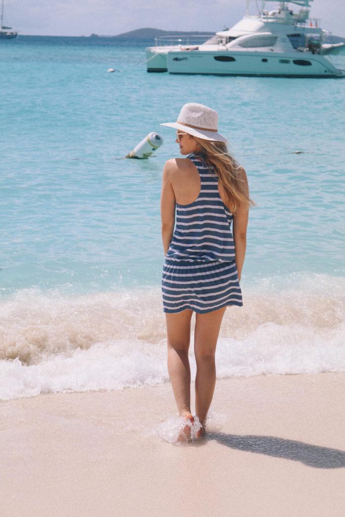 Lifestyle blogger Leigha Gardner of The Lilac Press enjoying the Soggy Dollar while exploring White Bay on Jost Van Dyke