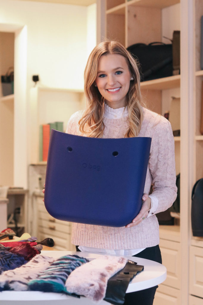Fashion blogger, Leigha Gardner, of The Lilac Press designing and customizing an O bag at O bag Boston while documenting the creative process.