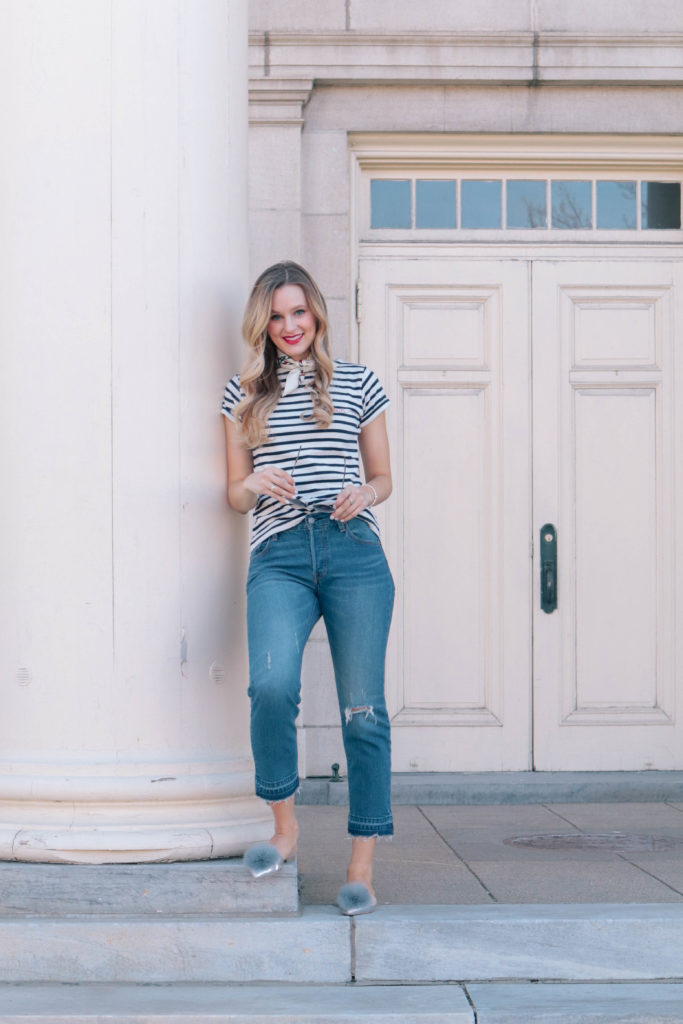 Style blogger, Leigha Gardner, of The Lilac Press wearing a French inspired navy and white striped tee and Tory Burch silk neck scarf.