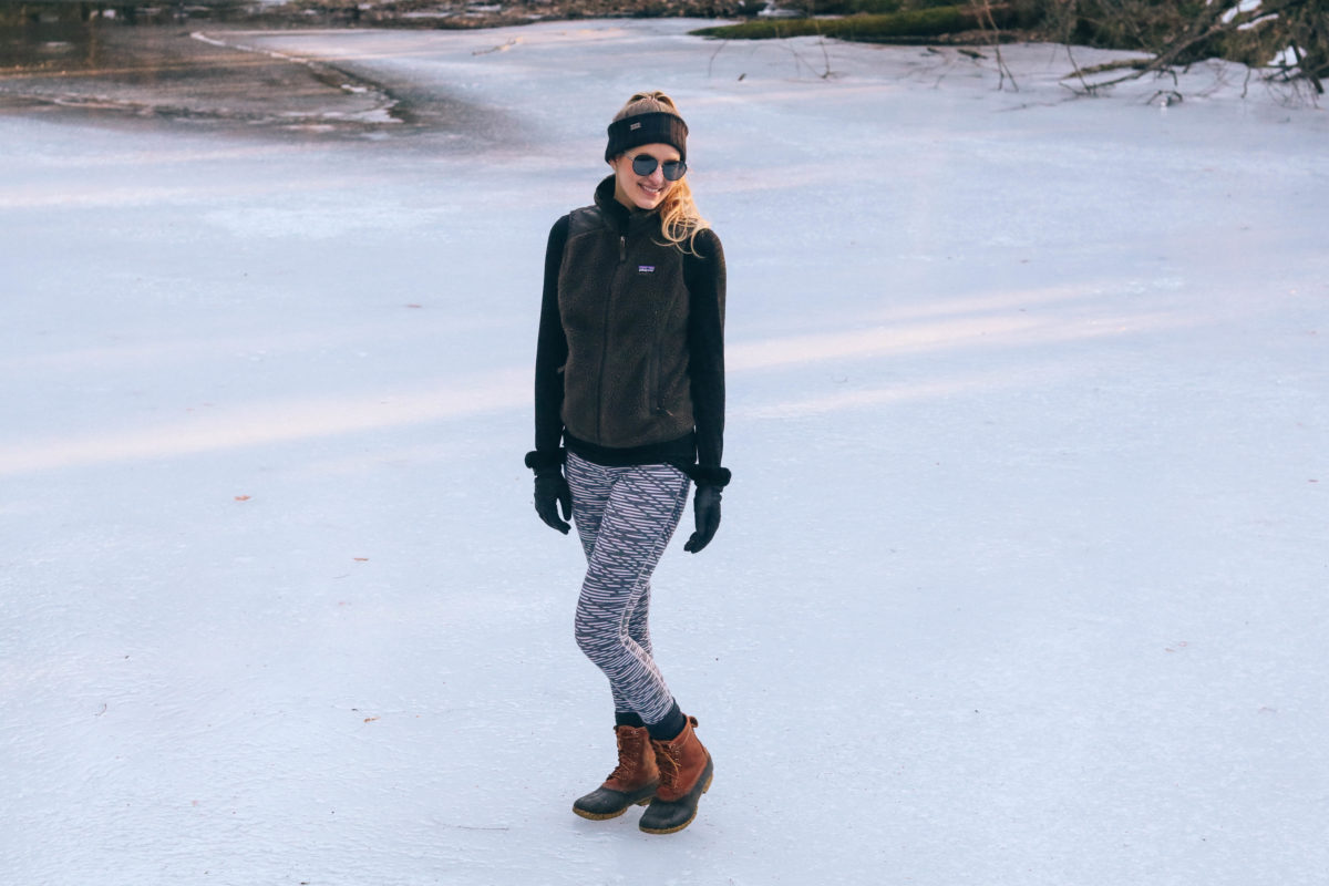 Lifestyle blogger, Leigha Gardner, of The Lilac Press staying active in Vermont as the New England winter thaws out.