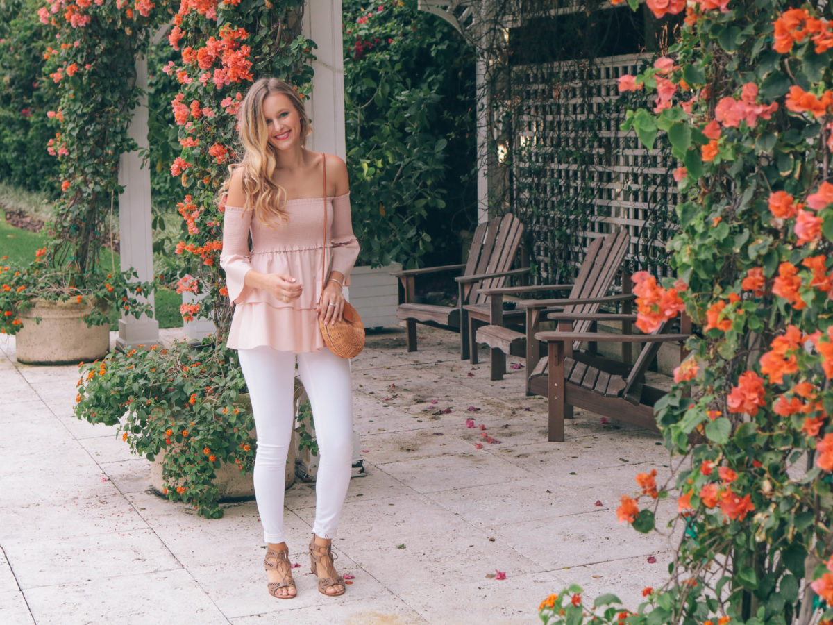 Leigha Gardner, of The Lilac Press, wearing an off-the-shoulder poplin top for date night in Miami.
