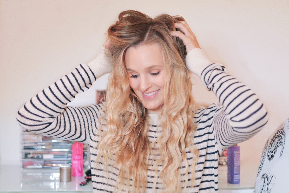 Style and beauty blogger, Leigha Gardner, of The Lilac Press sharing tips for styling textured waves with 2nd day hair.