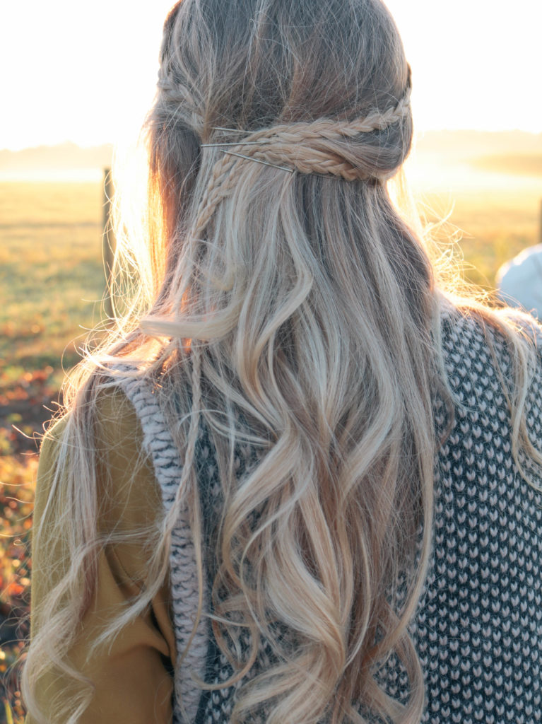 Style and beauty blogger, Leigha Gardner, of The Lilac Press sharing a fall hair video tutorial with small boho braids