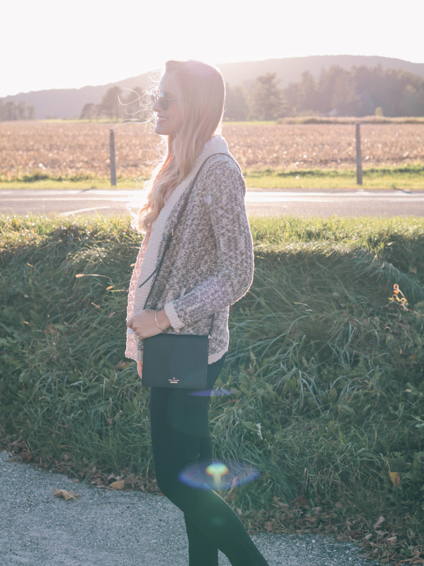 Style blogger, Leigha Gardner, of The Lilac Press on golden hour in the Berkshires and a cozy sweater