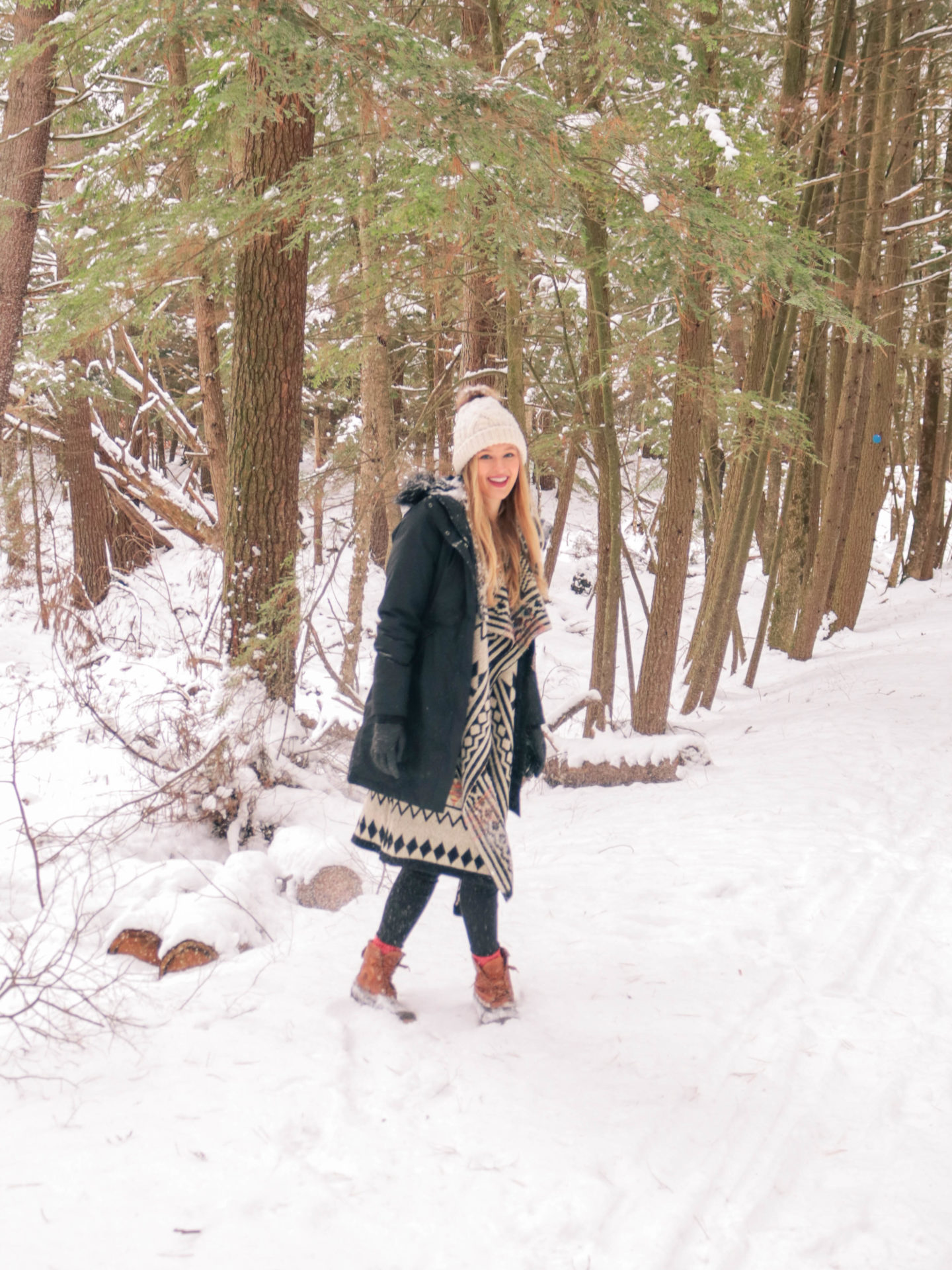Style blogger, Leigha Gardner, of The Lilac Press wearing a favorite cozy Baciano sweater in the snowy Berkshires.